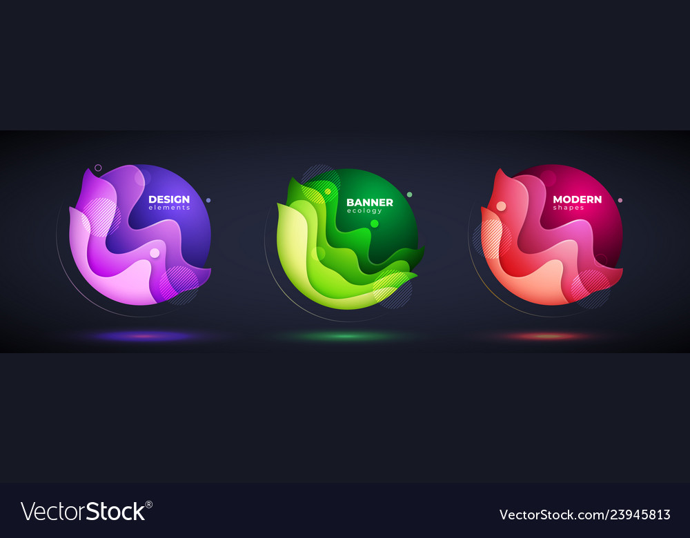Set of liquid abstract geometric circle fluid