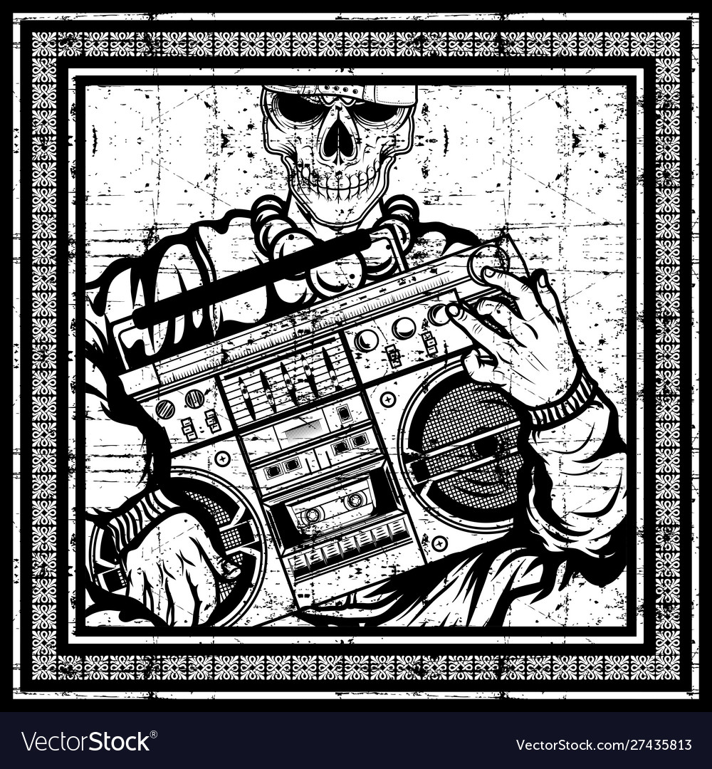Vintage skull rapper carries a boombox hand