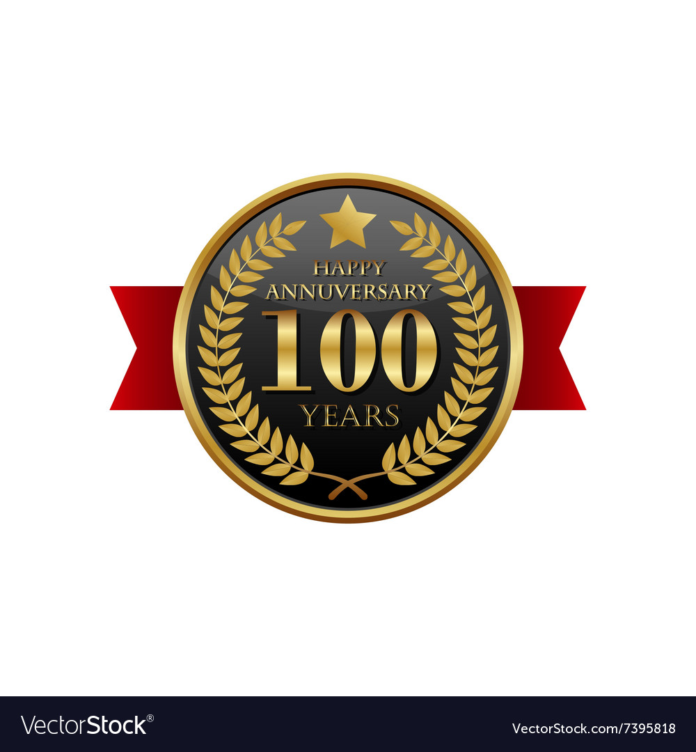 100 years anniversary golden label with ribbons vector image