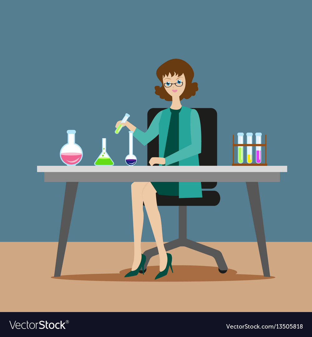 A girl chemist or assistant conducts chemical or