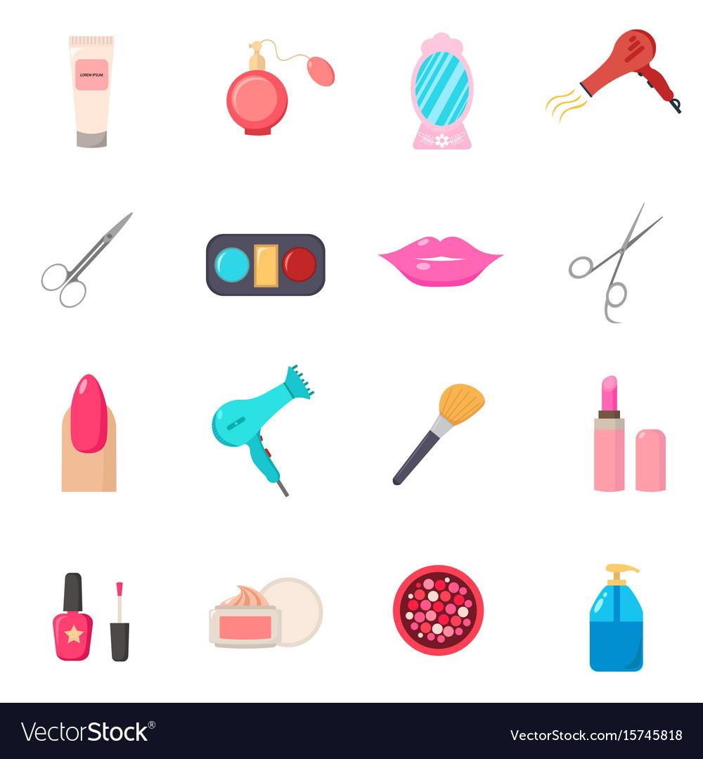 Beauty Salon Set Of Cartoon Icons White Royalty Free Vector