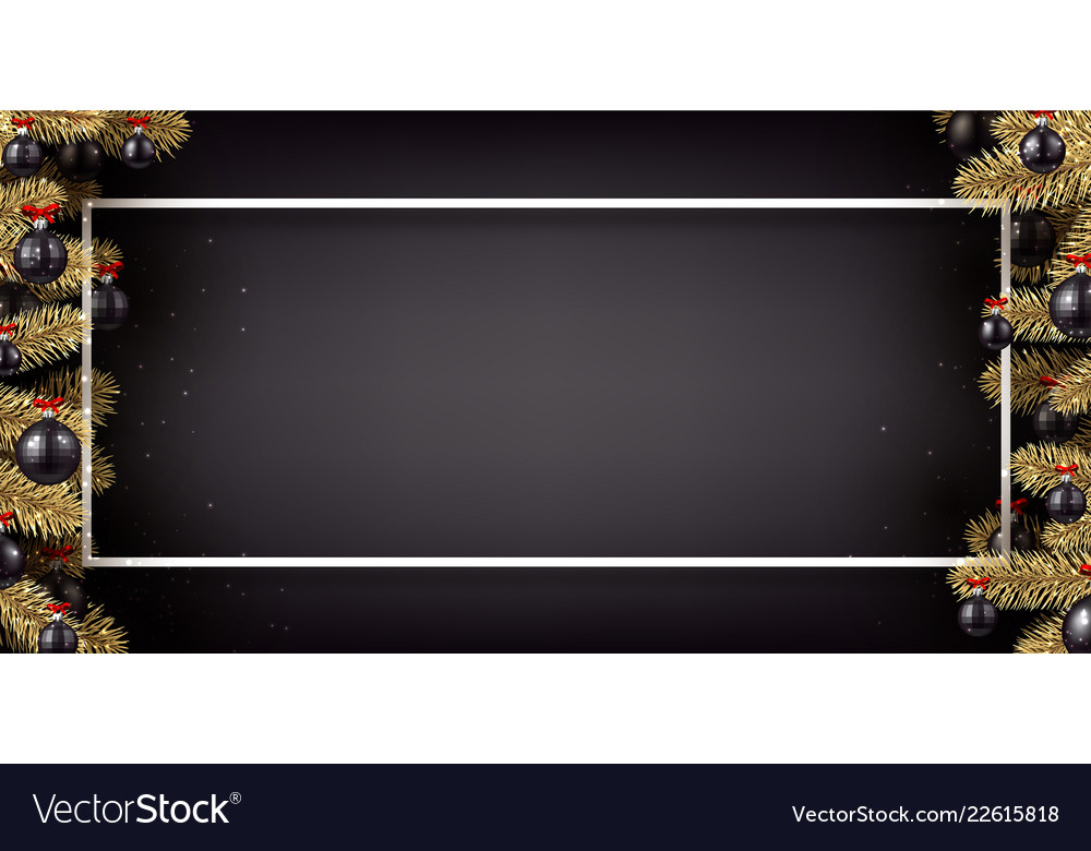 black christmas and new year banner with fir vector image