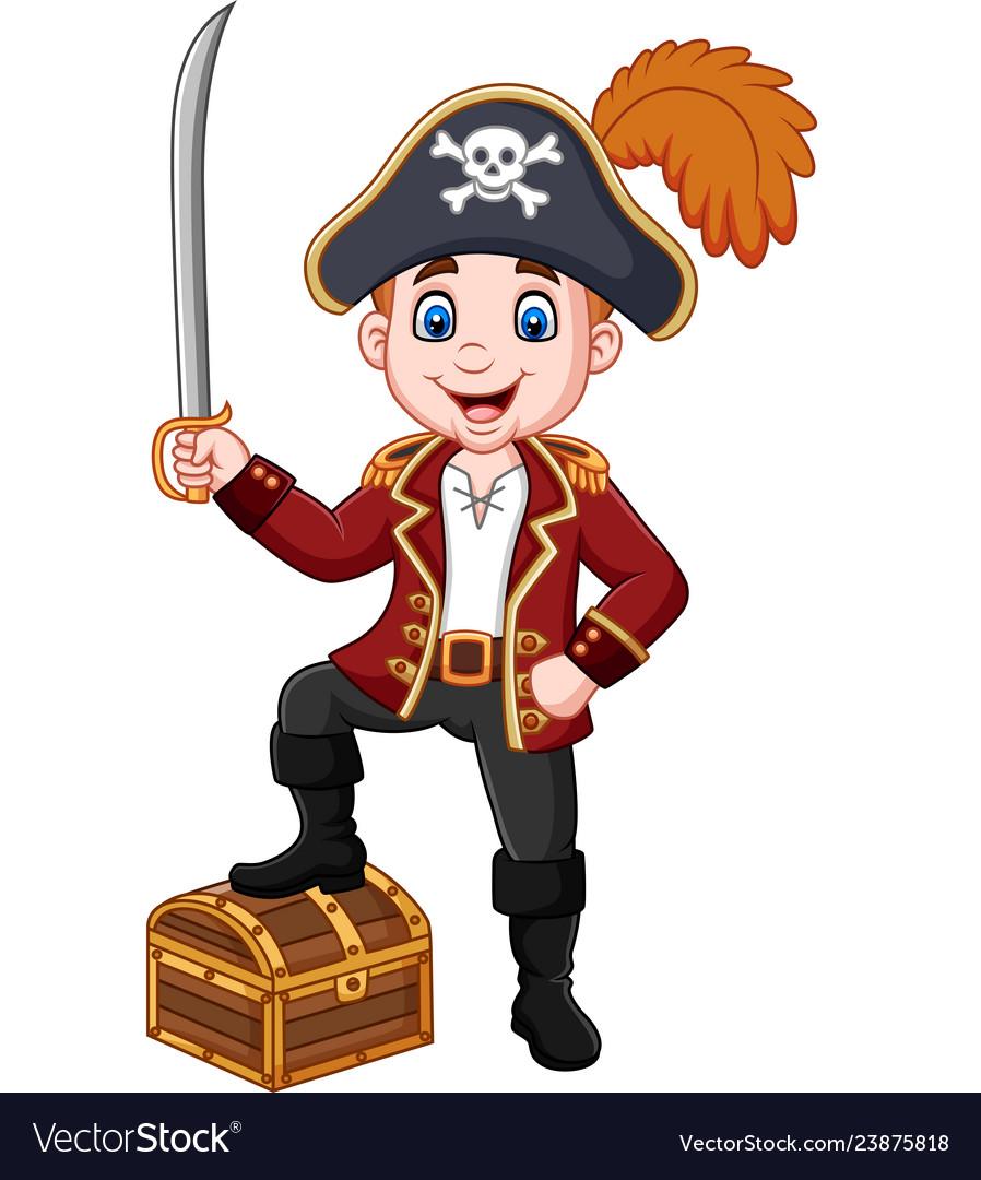 Cartoon pirate holding a sword