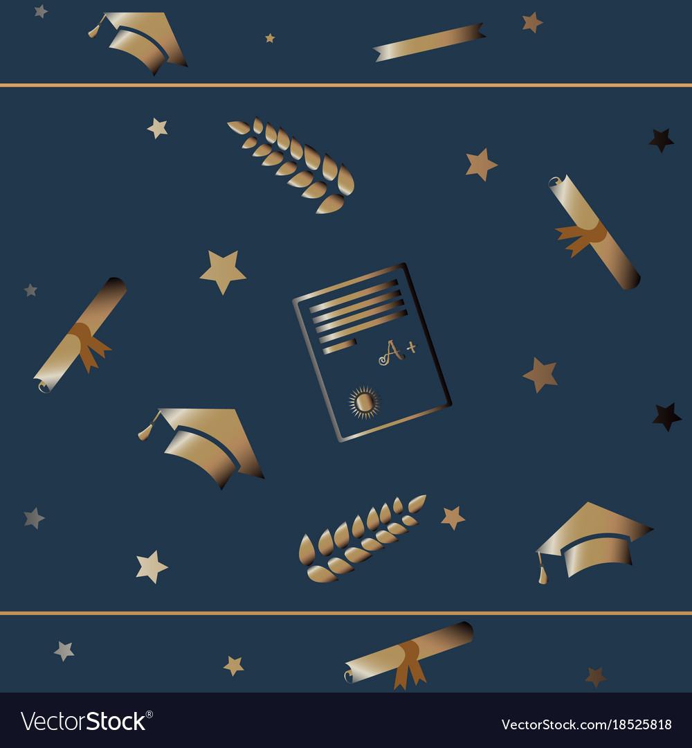 Cute graduation background with golden graduation