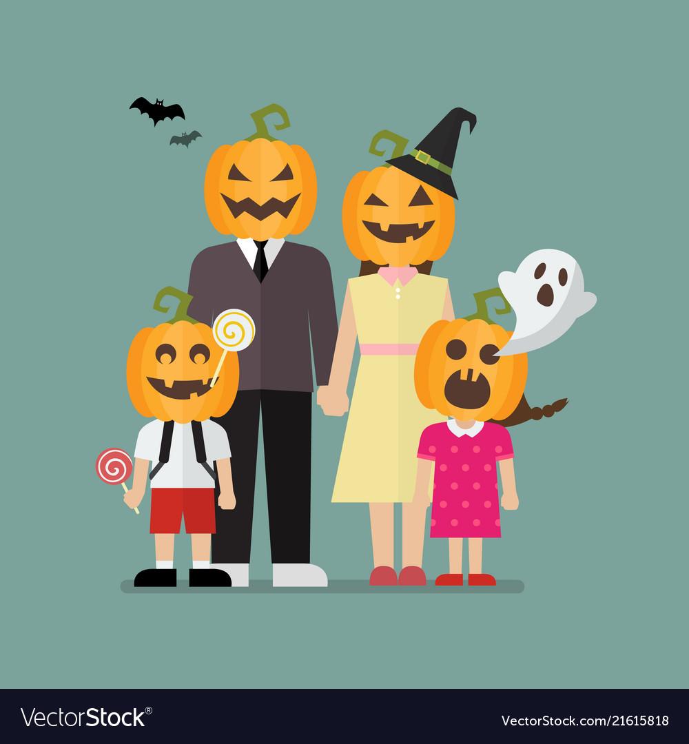 Halloween family with halloween pumpkin costumes