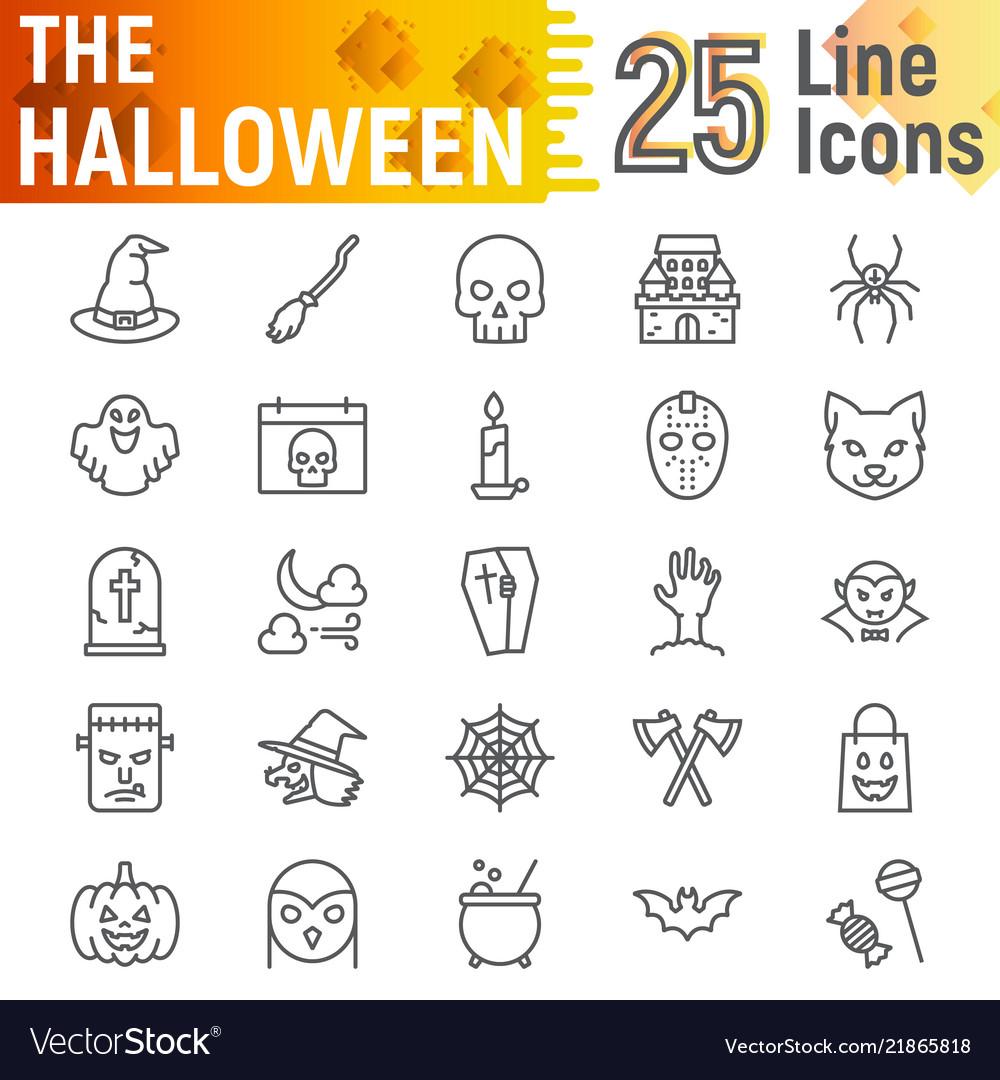 Halloween line icon set spooky symbols