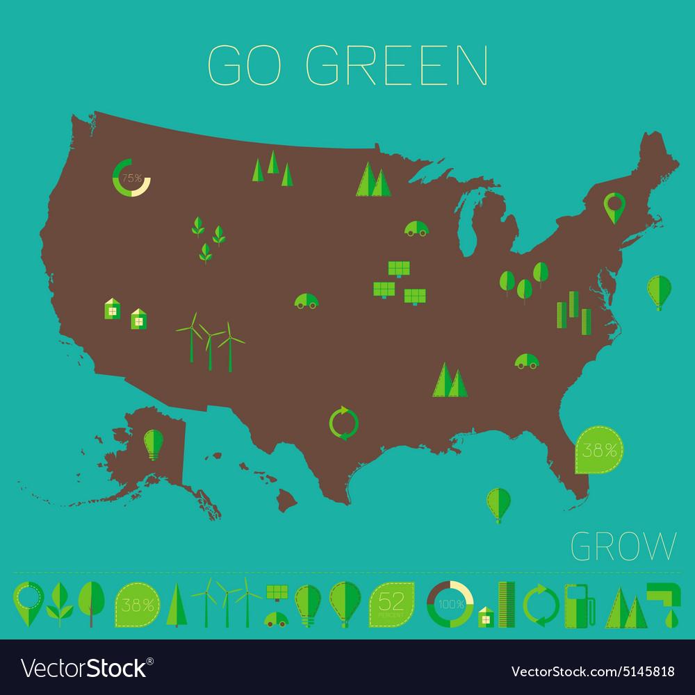 High detailed United States map ecology eco icons