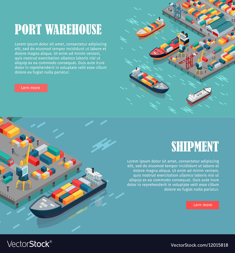 Port Warehouse and Shipment Banner vector image