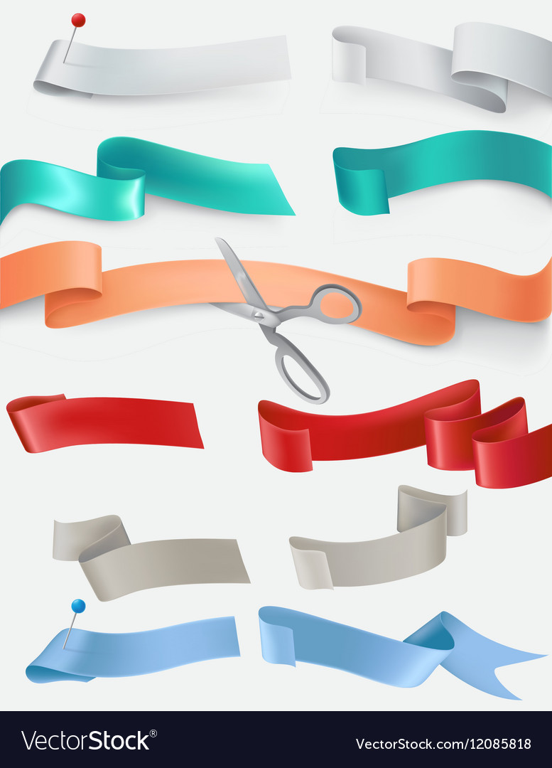 Set of satin ribbons in different colors