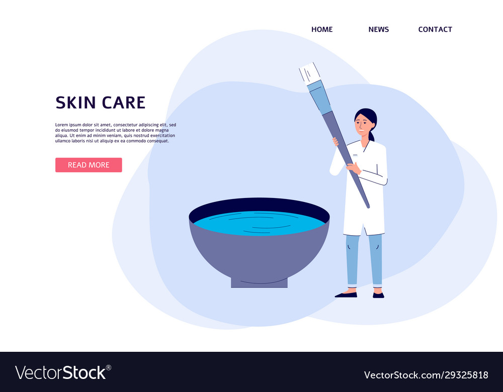 Skin Care Banner Cartoon Doctor Mixing Face Mask