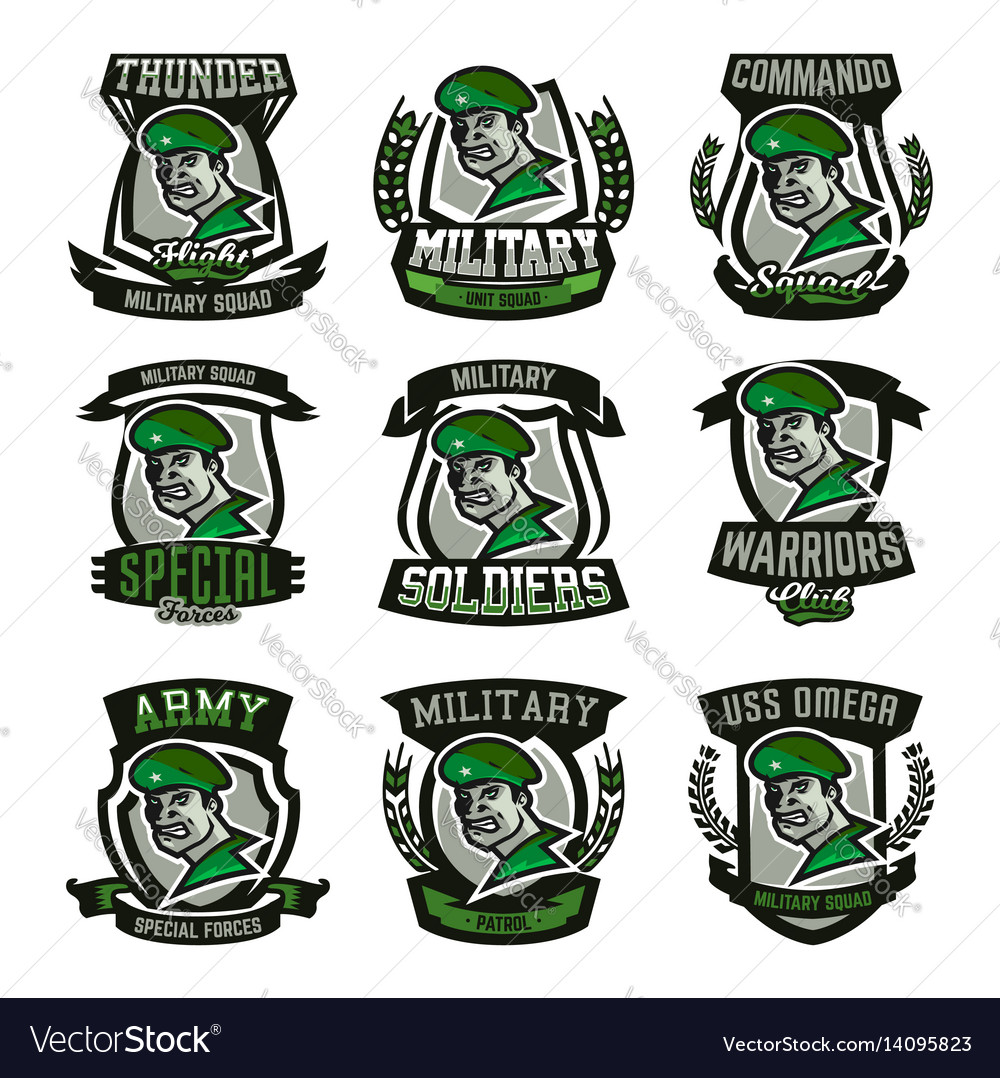A collection of emblems logos military man