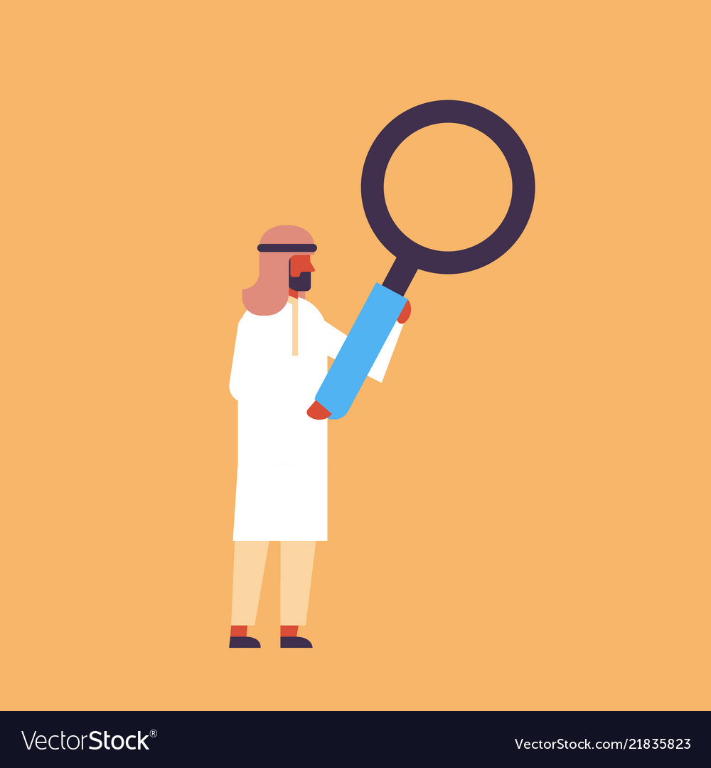 Arabic businessman holding magnifying zoom glass