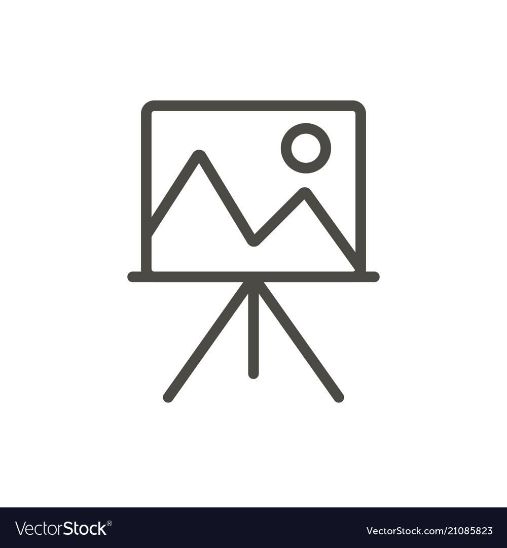 Artist easel icon line art canvas symbol