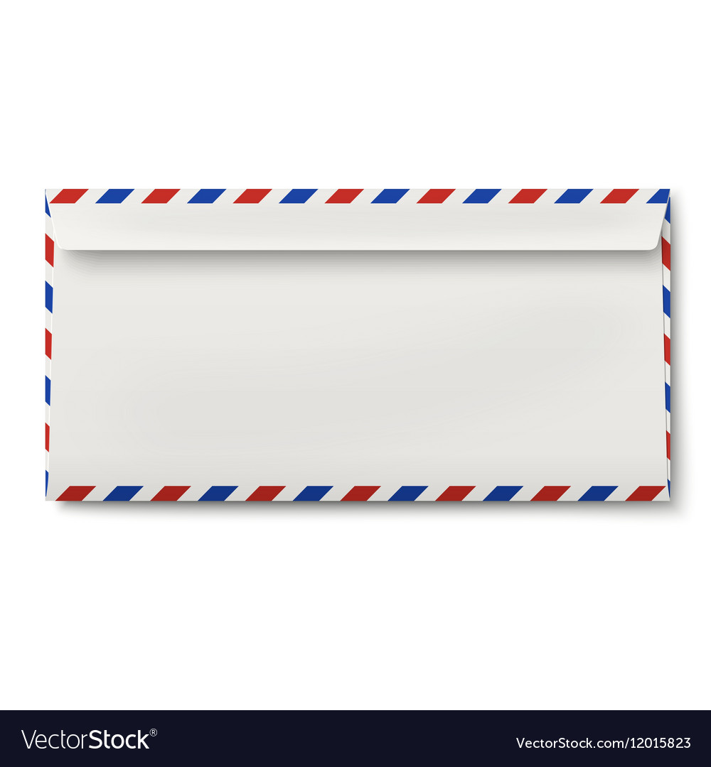 Backside of slightly opened DL air mail envelope Vector Image