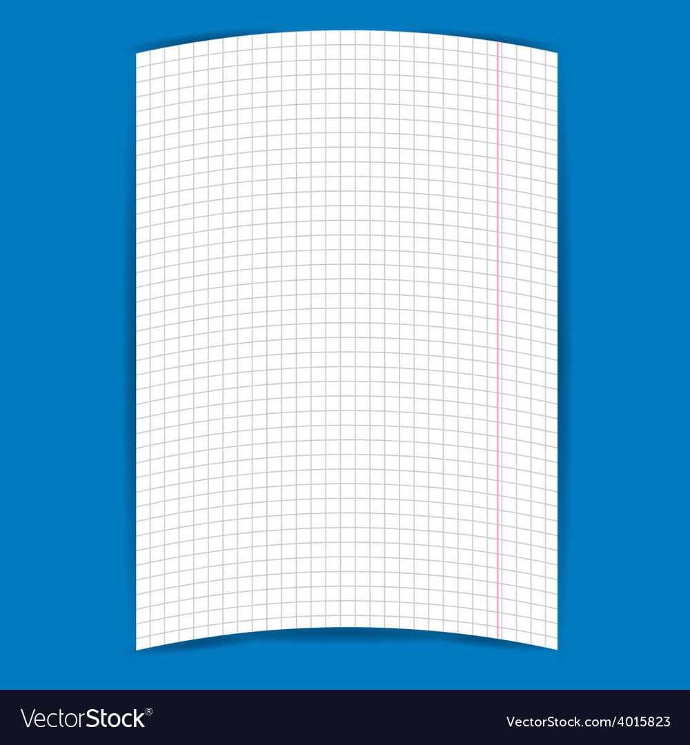Checkered notebook paper on blue background vector image altavistaventures Image collections