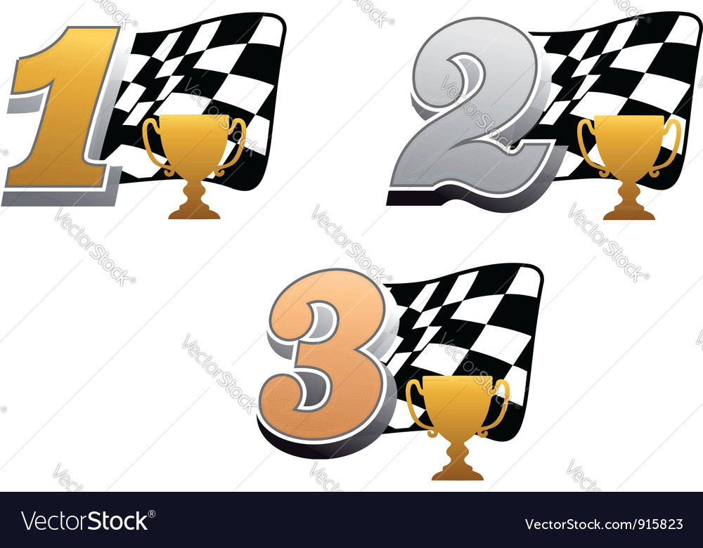 Auto Racing Trophy on Checkered Racing Flag With Trophy Vector 915823 By Seamartini