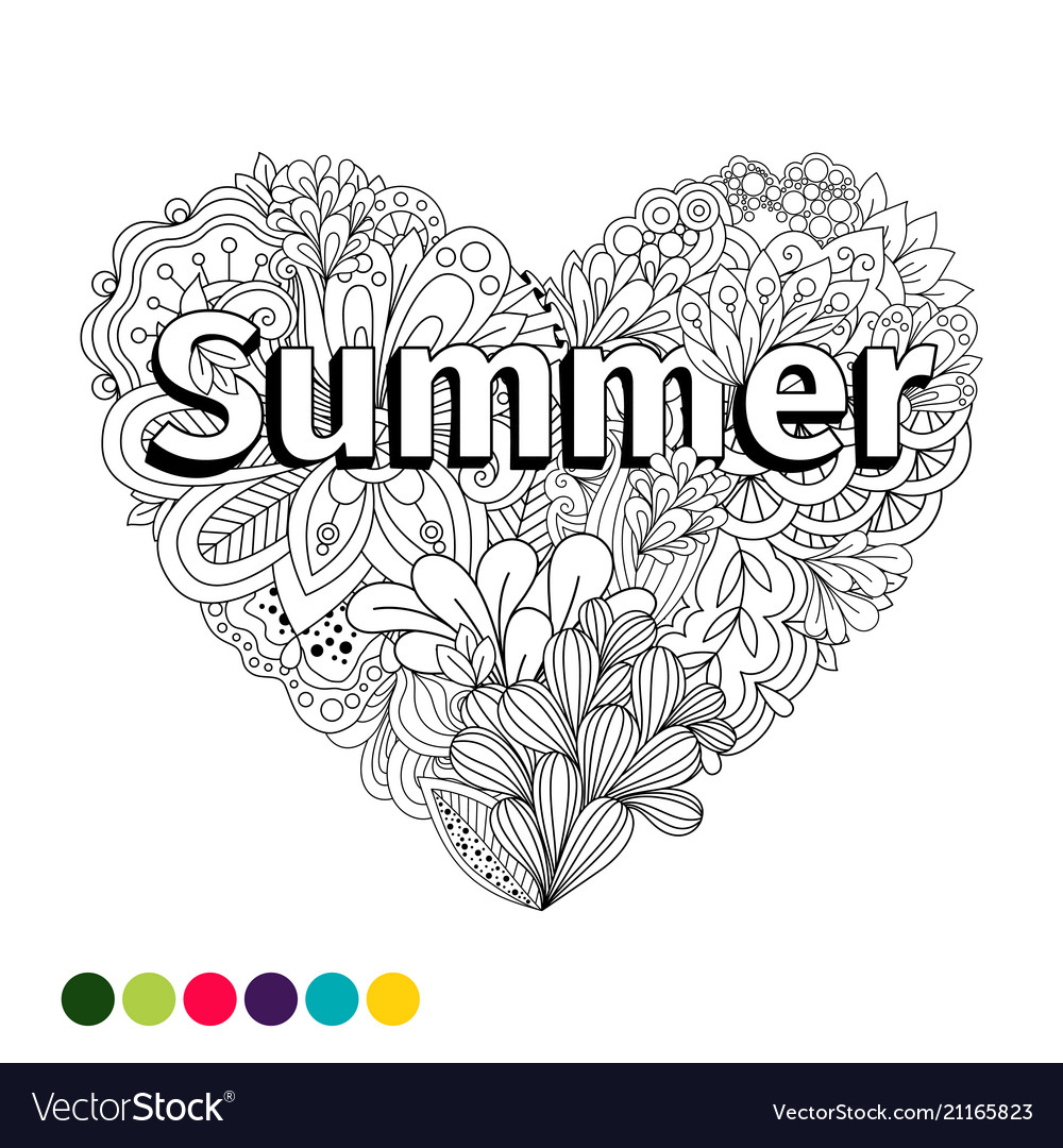 Doodle flowers heart coloring page Royalty Free Vector Image
