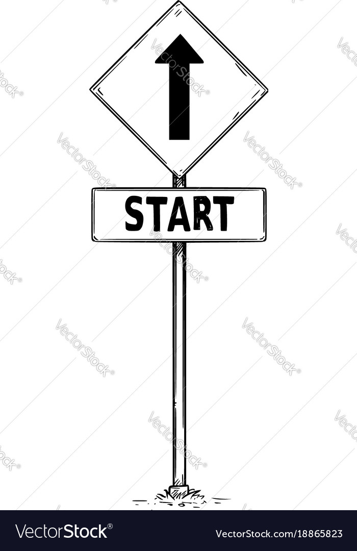 Drawing of one way arrow traffic sign with start