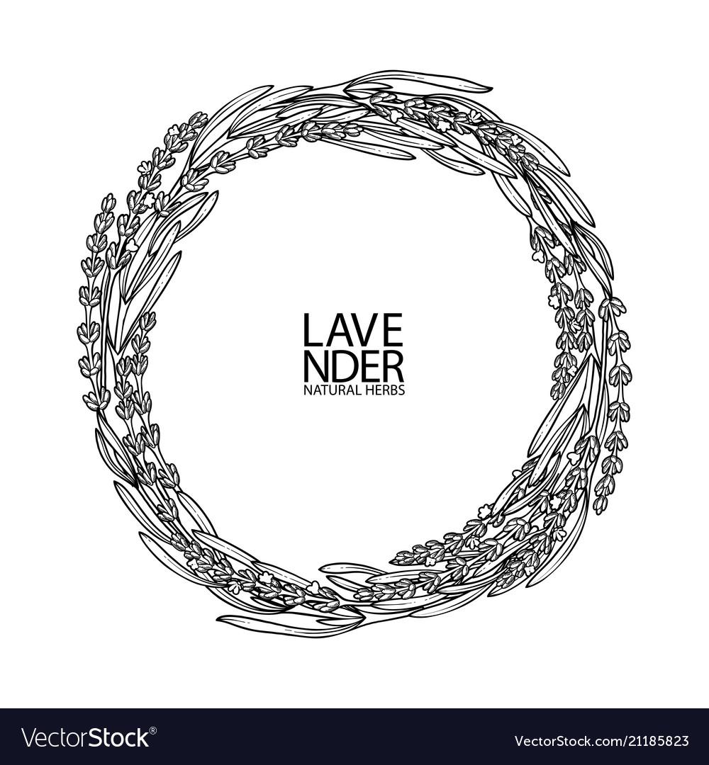 Graphic lavender wreath