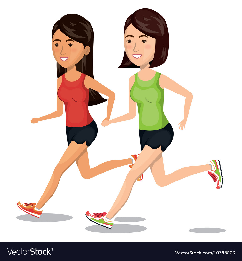 Group girl running jogging sport design isolated