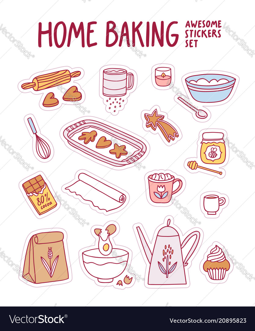 Home baking awesome stickers set