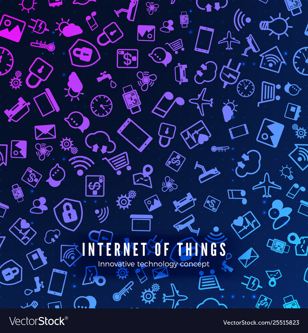 Iot concept internet things color icons pattern