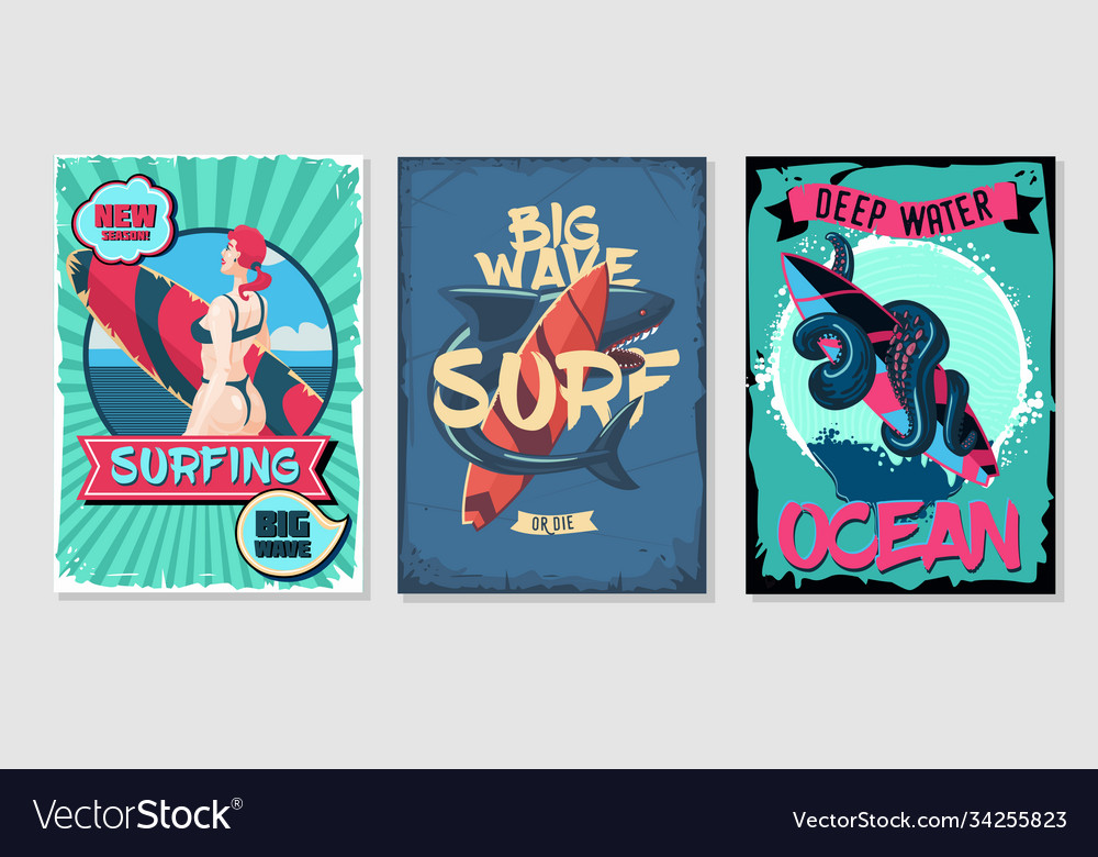 Nautical vintage posters set retro style cartoon vector