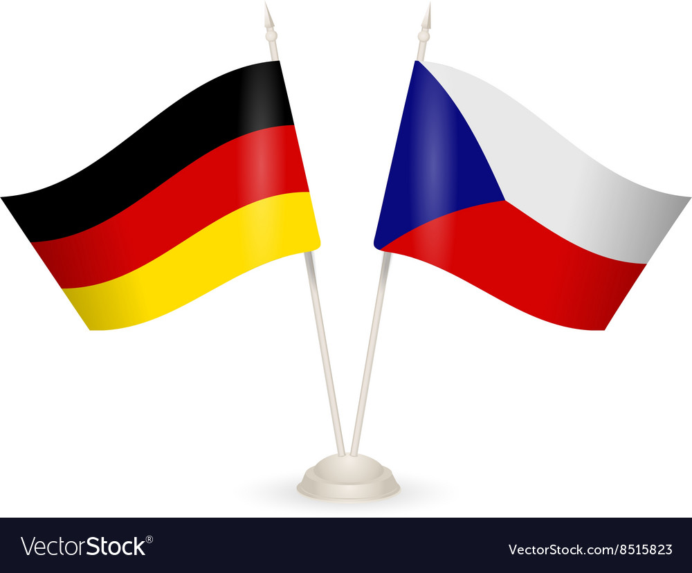Table stand with flags of Germany and Czech vector image