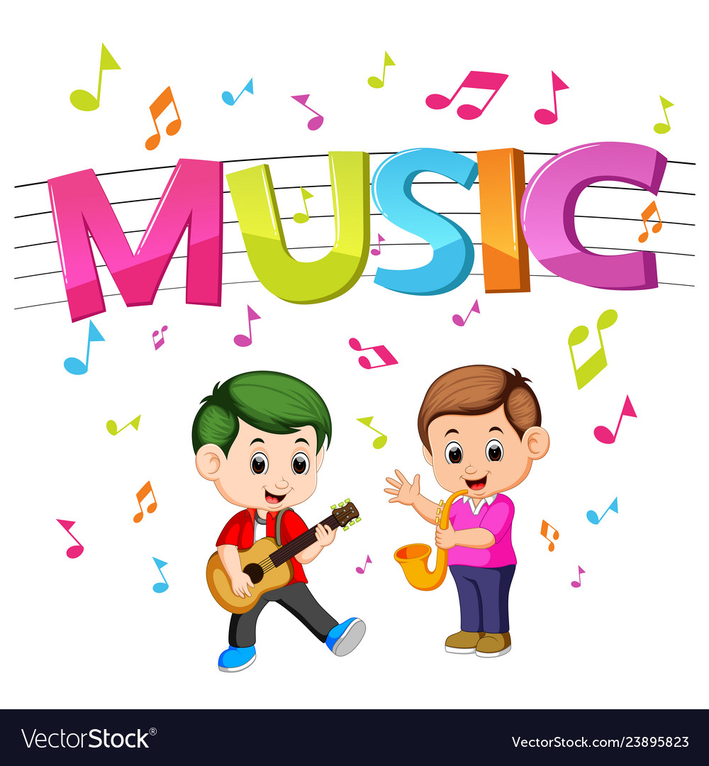music word vector guitar playing saxophone