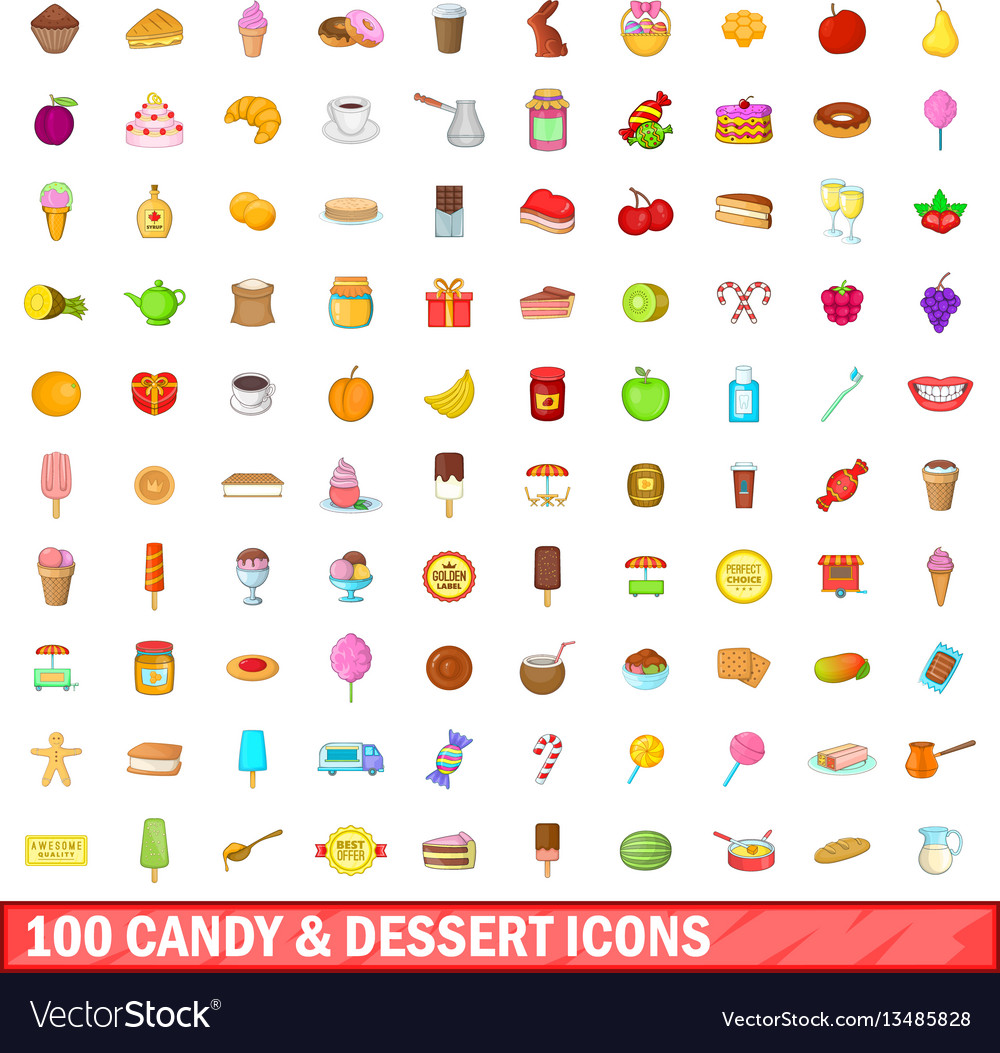 100 candy and dessert icons set cartoon style