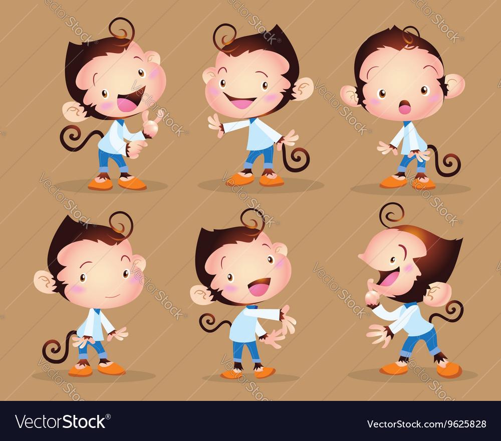 Cute monkey boy character