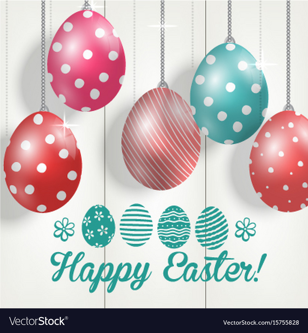 Easter colorful eggs on wooden background
