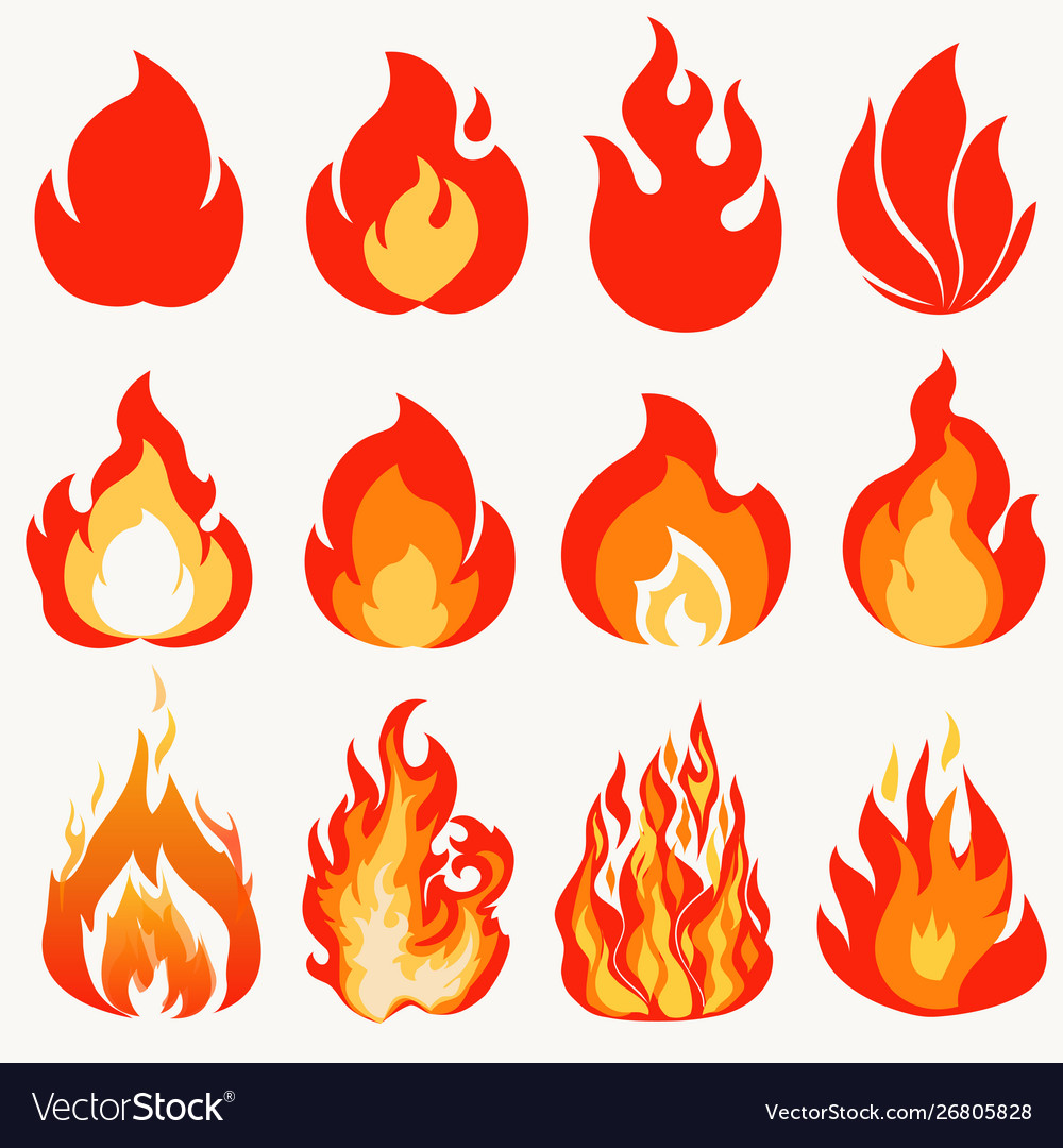 Fire flame modern flames collection symbol icon