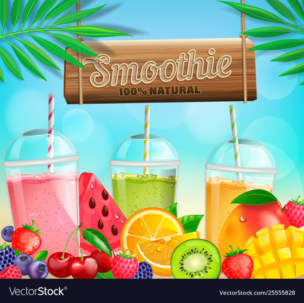 Fresh fruit and berry smoothies banner