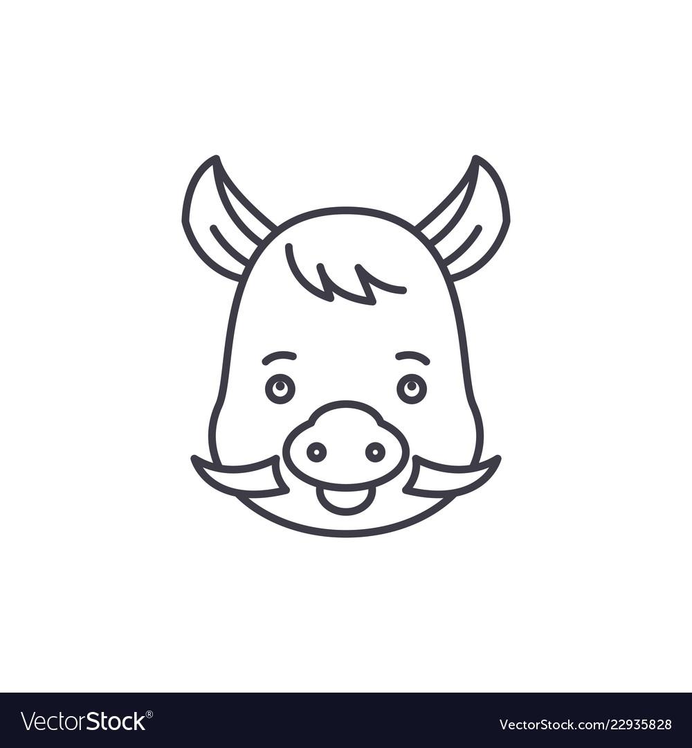 Funny boar line icon concept funny boar