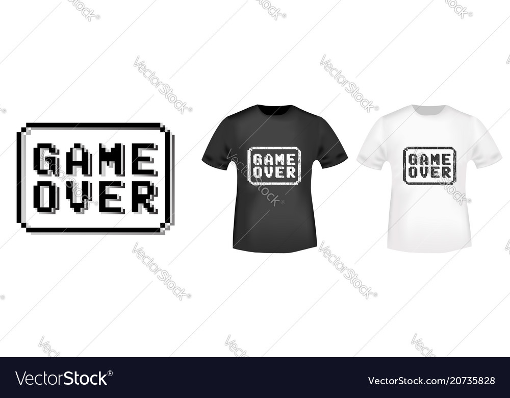 game over stamp and t shirt mockup royalty free vector image