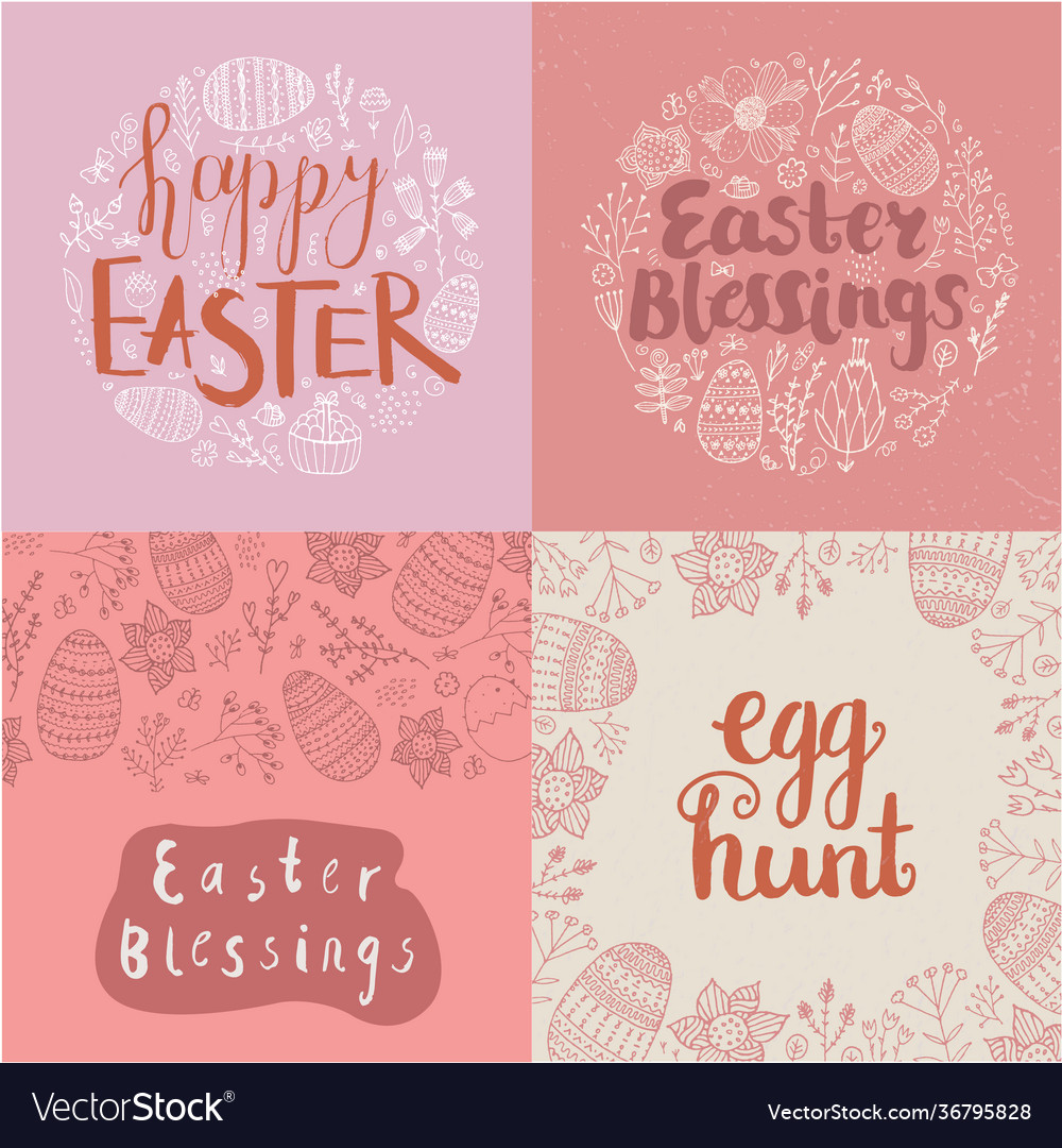 Set easter square cards banners hand