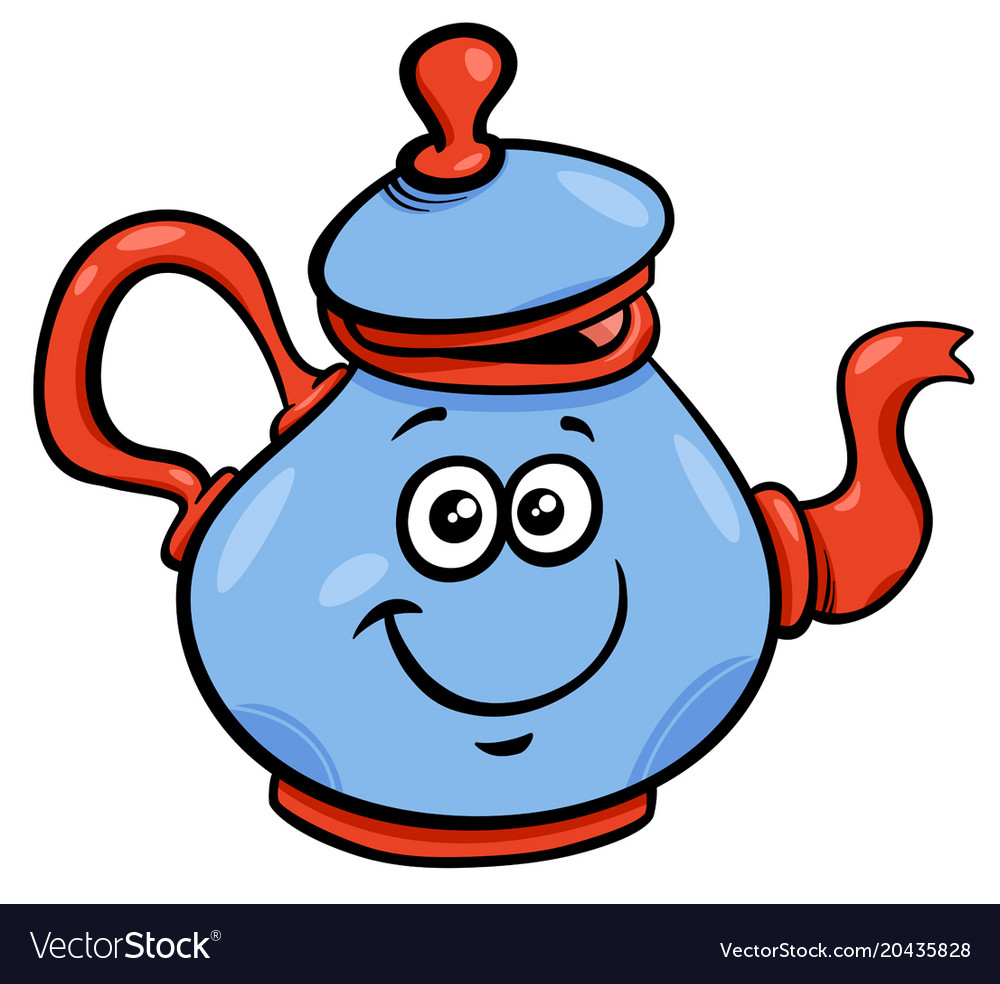 Teapot Or Kettle Cartoon Character Royalty Free Vector Image
