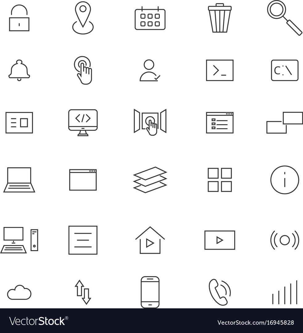 User interface line icons vector image