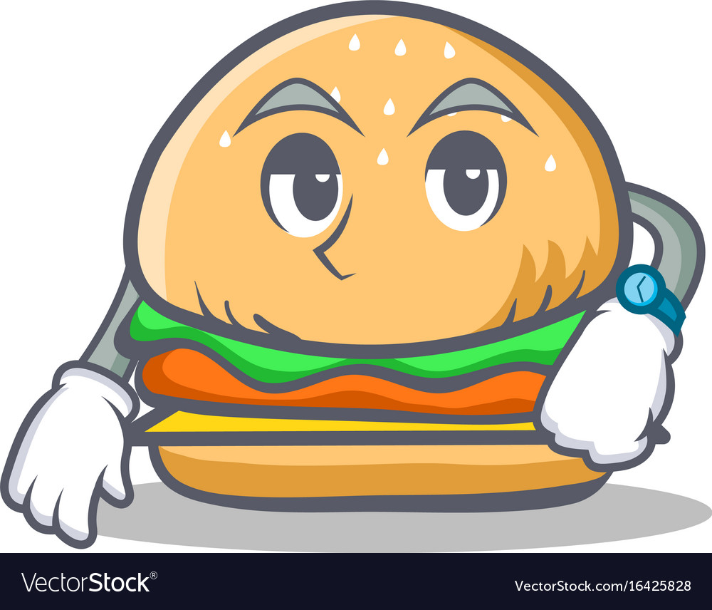 Waiting burger character fast food vector image