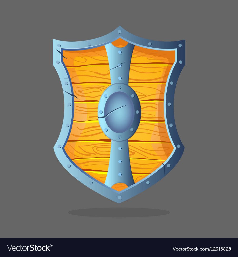 Wooden shield with metal frame and oval middle in