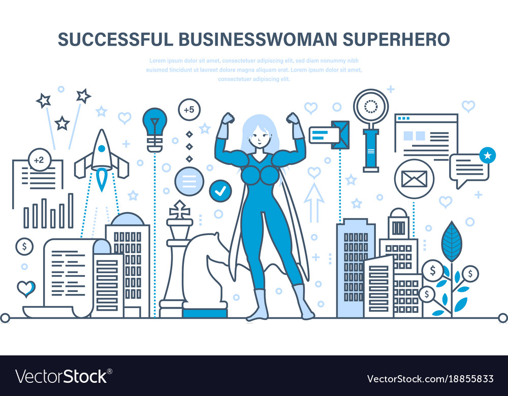 Businesswoman is superhero in business clothes