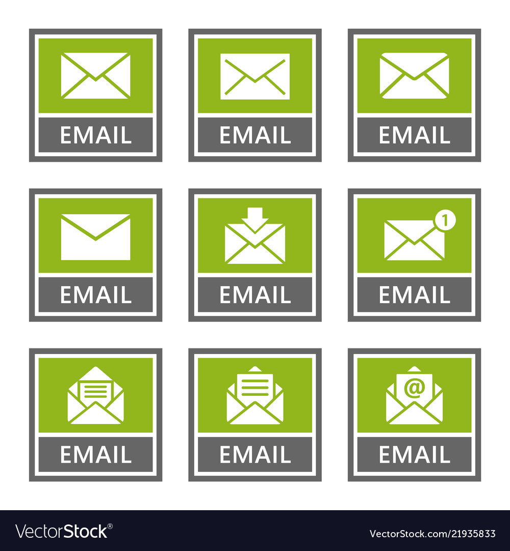Email signs and icons set mail message