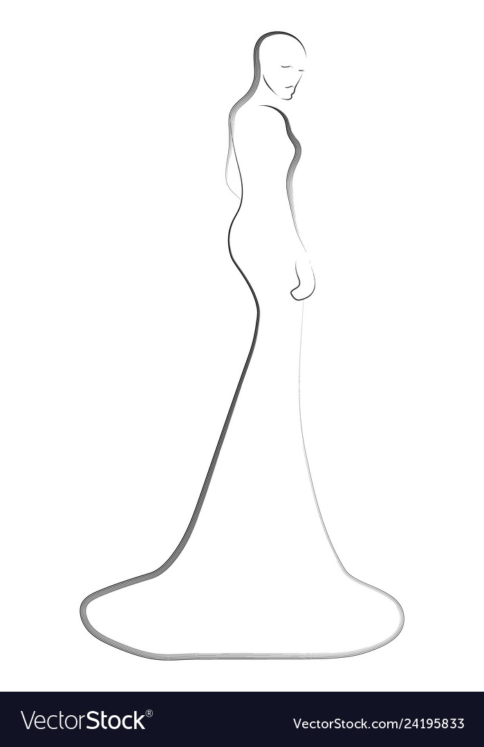 Fashion Models In The Dress Sketch Royalty Free Vector Image