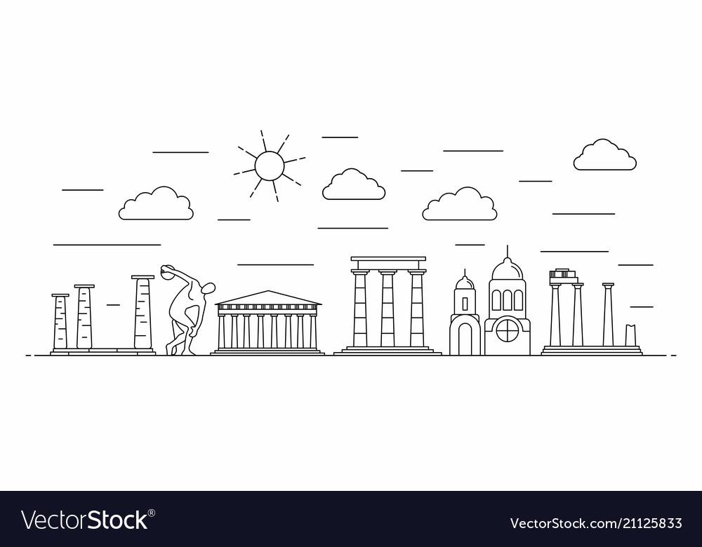Greece panorama line style