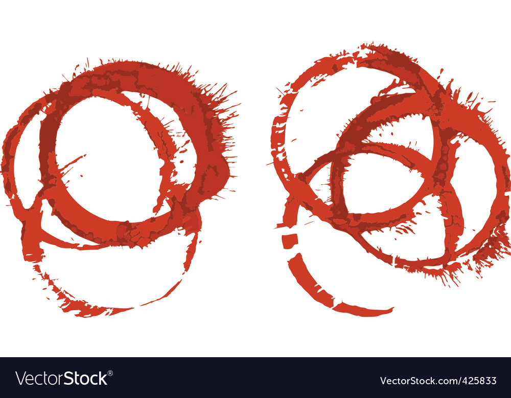 Grunge red wine glass stains vector image
