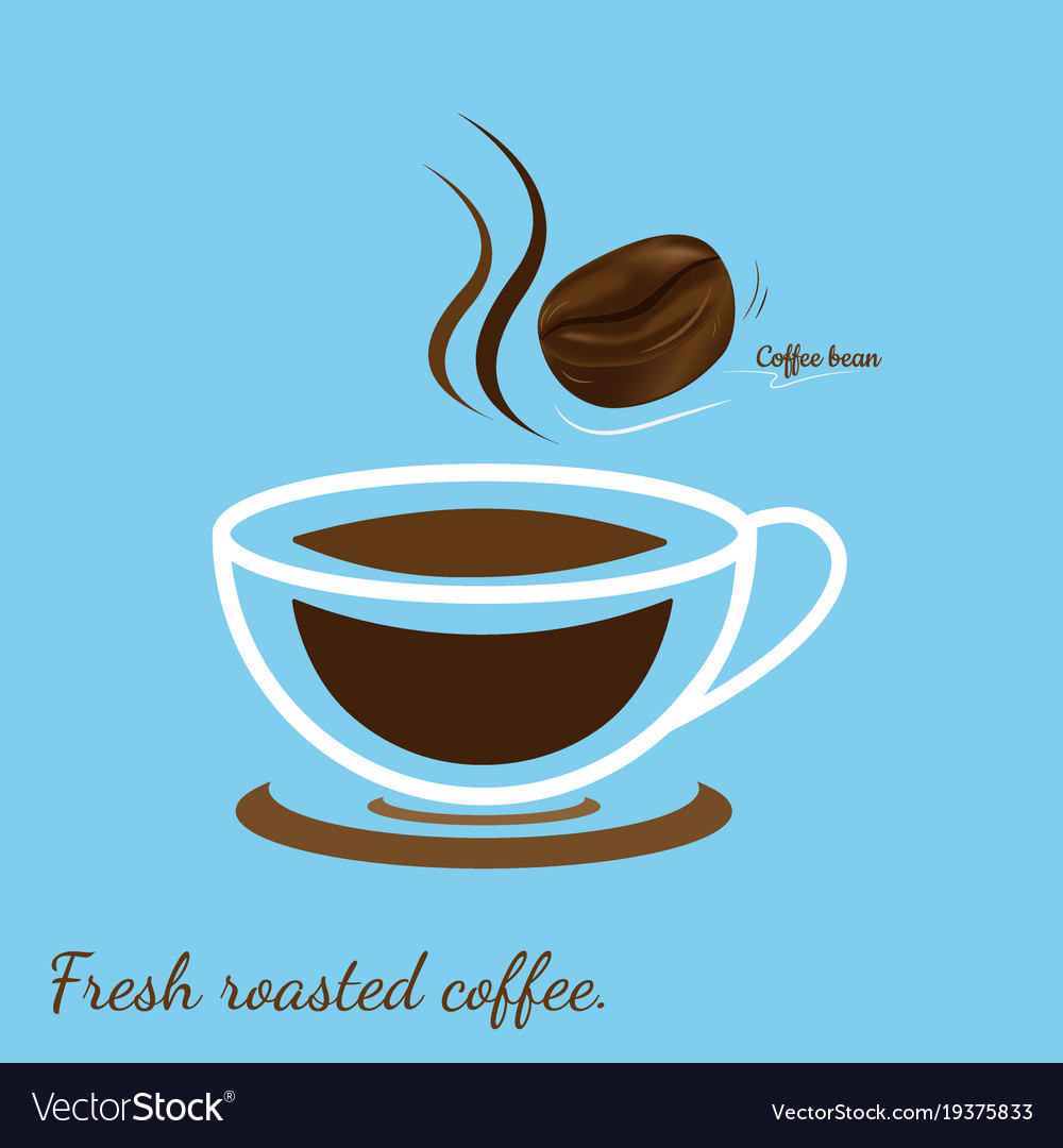 Hot coffee cup with coffee bean fresh roasted