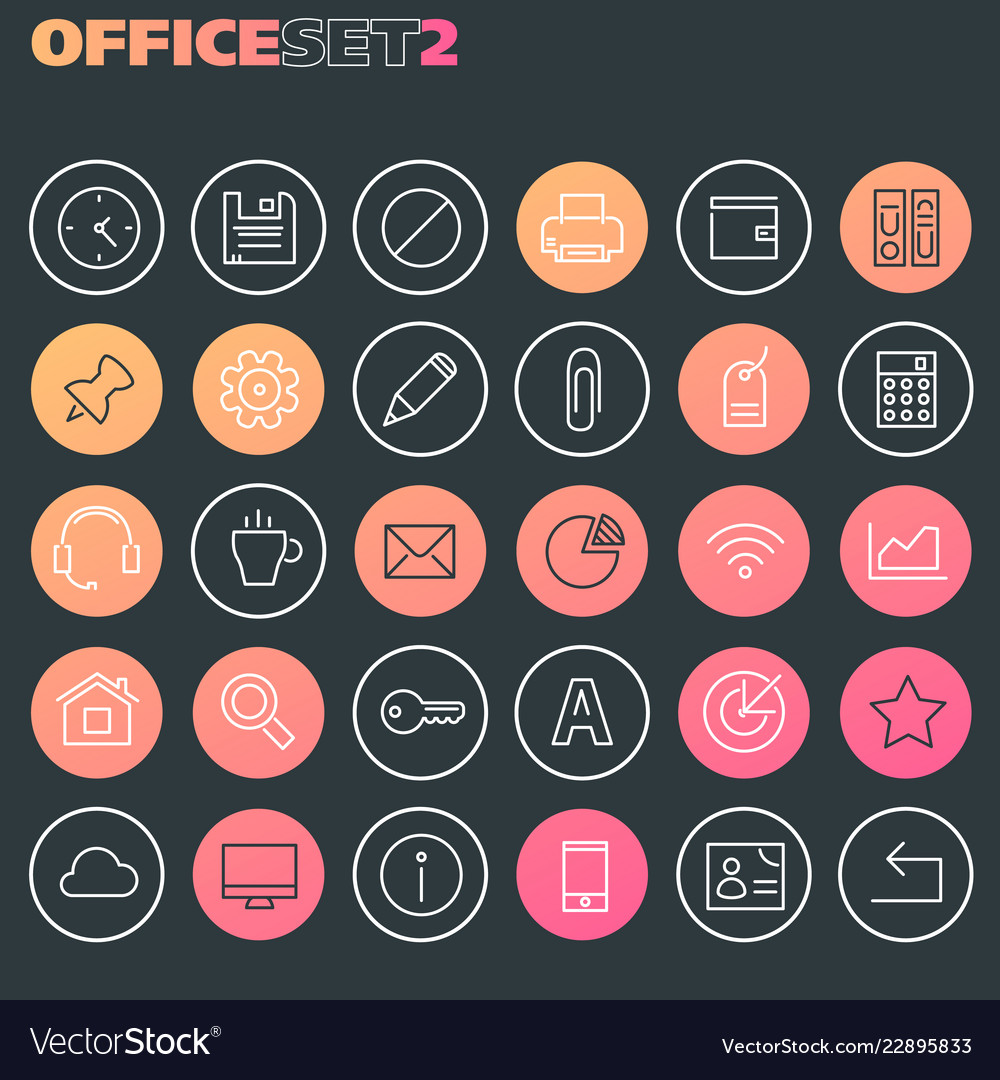 Inline office icons collection trendy line icons