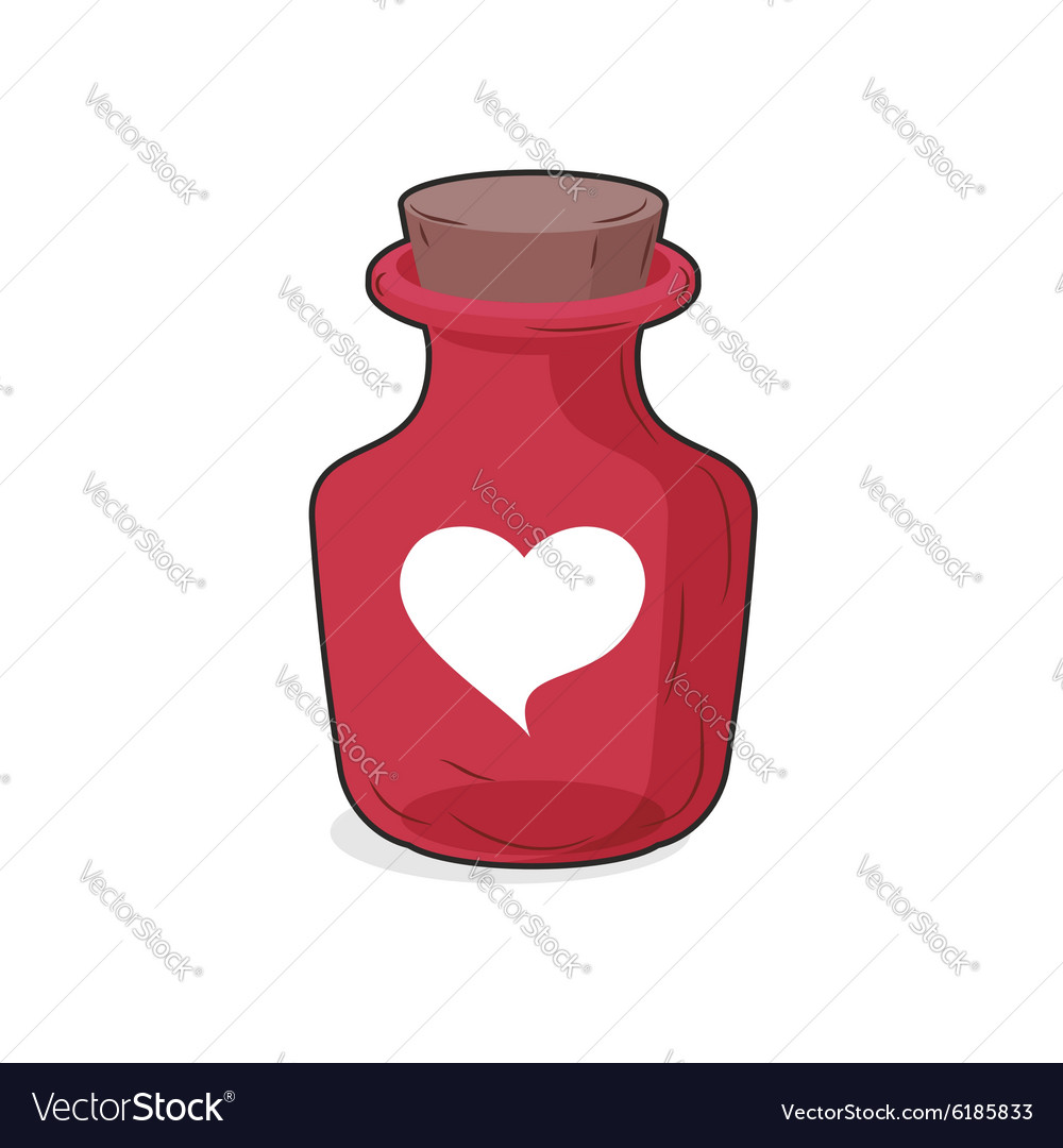 Magic red bottle of love potion Symbol of heart