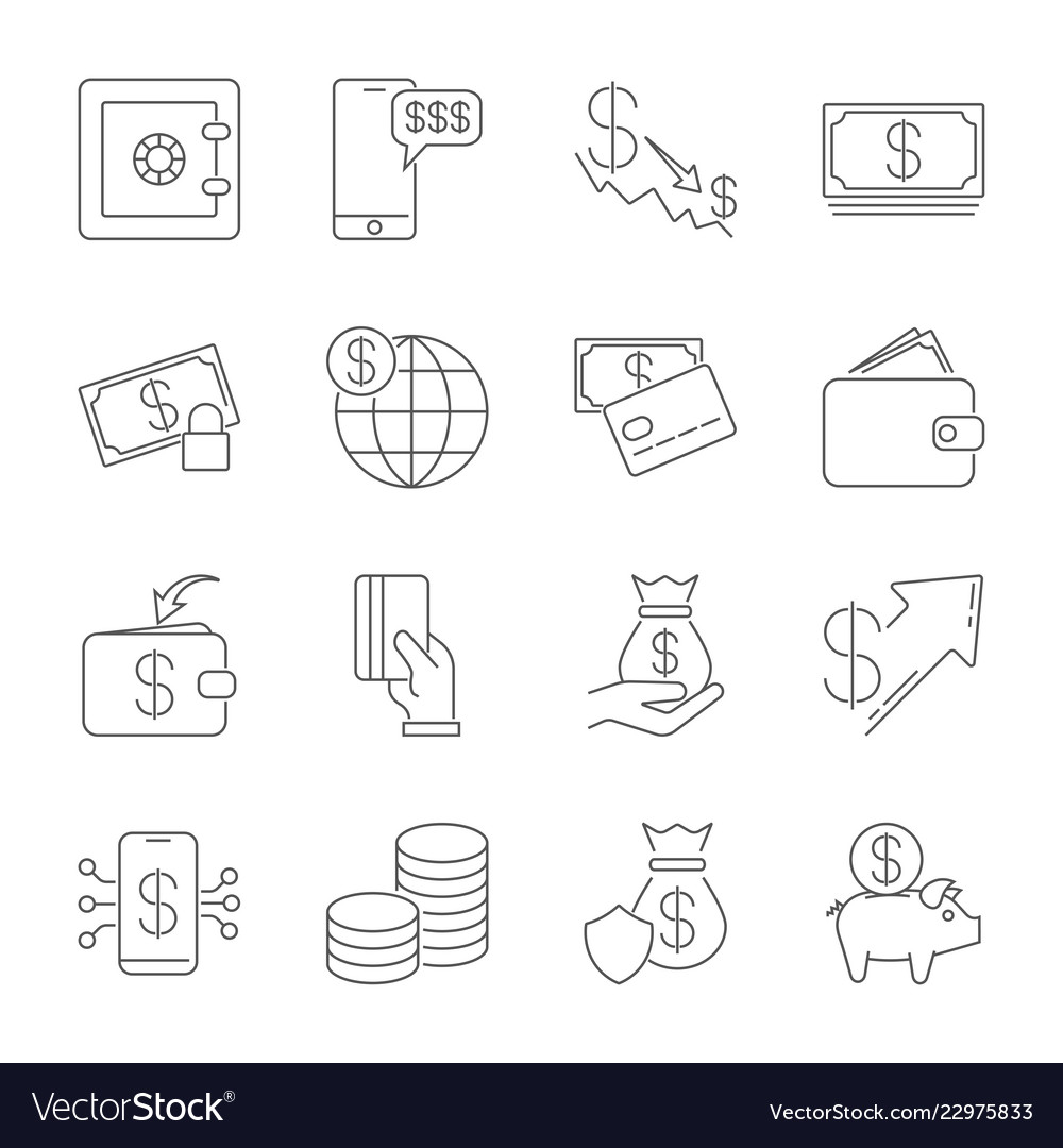 Simple icon set related to money a set of sixteen